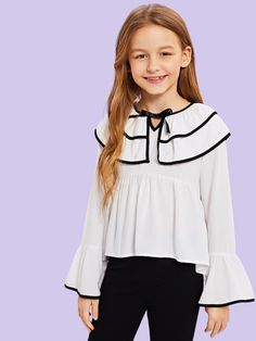 To find out about the Girls Contrast Binding Layered Ruffle Top at SHEIN, part of our latest Girls Blouses ready to shop online today! Outfits Niños, Fashion Outfits, Girls Fashion Clothes, Kids Fashion, Little Girl Dresses, Girls Dresses, Girls Blouse, Fall Shirts, Ruffle Top