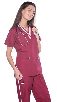 Women's Sporty Striped 2 Piece Scrubs Uniform