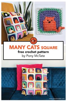 Many Cats square // free crochet pattern