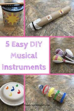 5 Easy DIY musical instruments to make with your children. Kids love music, and learning music helps build STEM skills! Practice counting, learn rhythms, and recognize patterns with these easy to make instruments. Preschool Music Activities, Preschool Crafts, Toddler Activities, Preschool Activities, Movement Activities, Kindergarten Music, Instrument Craft, Making Musical Instruments, Homemade Instruments
