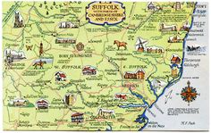 ICYMI: Vintage Suffolk Map Postcard, with parts of Cambridgeshire and Essex Suffolk Coast, England Map, Suffolk England, Ipswich England, Wales, Picture Postcards, Poster Size Prints, Print Map, Ireland