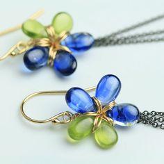 Kyanite and Vesuvianite Garnet Flowers with Wispy por fussjewelry