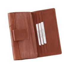 Style n Craft's handmade clutch wallet for ladies in high grade full grain tan color cow leather, Double wallet design, Holds cards, ID, cash, coins, receipts