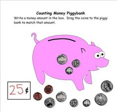Counting Coins Piggybank Smartboard Activity for K-2 by Lo