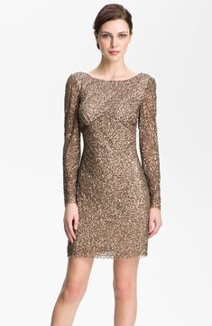 ADRIANNA PAPELL RED CARPET Sequin Shift TOBACCO DRESS Size 2 $258 #125 NEW #AdriannaPapell #Cocktail