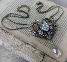SYMBOL of ETERNITY Neo-Victorian Steampunk wedding necklace with antique metal and Swarovski crystal
