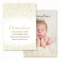 "Faire-part / Invitation naissance mixte personnalisé ""Confettis"" : dore, or, pois, festif - Paper and Love - www.paperandlove.be / Custom birth invitation ""Confettis"" : dots, gold, festive - Paper and Love"