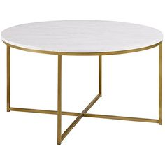 """WE Furniture 36"""" Coffee Table with X-Base Marble/Gold ($10) ❤ liked on Polyvore featuring home, furniture, tables, accent tables, gold accent table, x base coffee table, gold table, marble furniture and marble table"""
