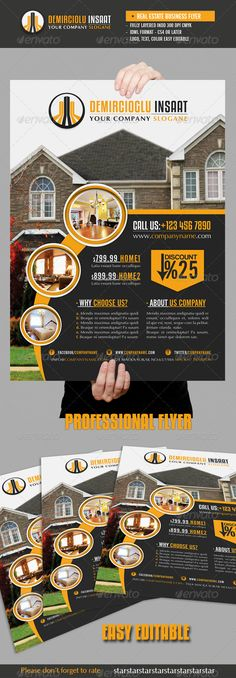 Buy Real Estate Business Flyer by grafilker on GraphicRiver. Real Estate Business Flyer Fully layered INDD IDML format open Indesign or later Completely editable, print . Real Estate Ads, Real Estate Flyers, Real Estate Business, Real Estate Investor, Real Estate Companies, Real Estate Marketing, Advert Design, Advertising Design, Business Design