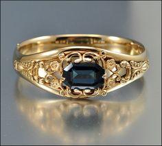Antique Victorian Bracelet Bangle Gold Glass Vintage Jewelry 1900s. $245.00, via Etsy.