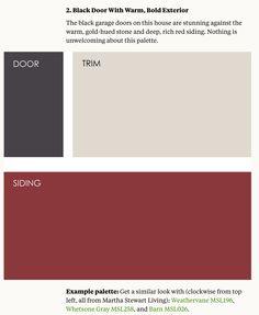 Dark color shutters, red for door