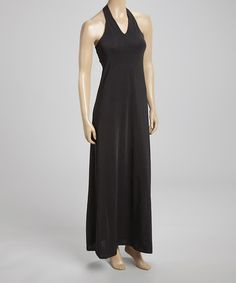 Look at this #zulilyfind! Black Shirred Halter Maxi Dress #zulilyfinds