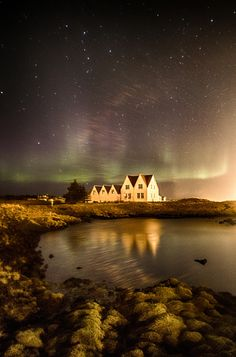 Northern Lights over Straumur - I went aurora haunting last Sunday evening at the Reykjanes peninsula in Iceland. I went to lake Kleifarvatn and to Straumuur art center close to Straumsvík where this photo is taken.