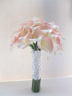 Blush Pink Calla Lily bouquet, Bridal Bouquet, wedding bouquet on Etsy, $99.00