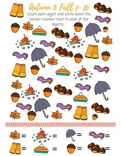 autumn counting activity, number from 1 to 10 counting printable, counting from 1 to printable counting, fall counting activity 19 Kids And Counting, Counting Activities, Autumn Activities, Preschool Activities, Spy Games For Kids, English Worksheets For Kids, I Spy, Teacher Humor, Autumn Theme
