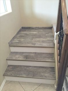 Vinyl Plank Flooring for Stairs . Vinyl Plank Flooring for Stairs . Porcelain Wood Look Tile Stairs Tiled Staircase, Tile Stairs, Oak Stairs, Staircase Remodel, Concrete Stairs, Wooden Stairs, Basement Stairs, Tile Basement Floor, Redo Stairs