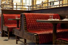fixed seating leather red