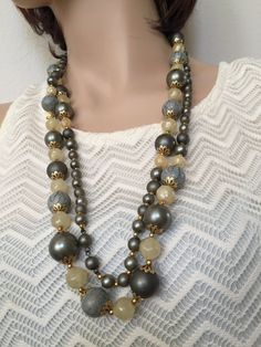 Long Boho Necklace in Steel Blue-Grey gold and by mytimevintage