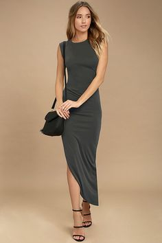 Lulus Exclusive! The Positive Perspective Washed Black Midi Wrap Dress will instantly improve your attitude and your outfit! Soft stretch knit forms a rounded neckline and sleeveless bodice with ruched accent along the side. Asymmetrical midi skirt has a sexy side slit.
