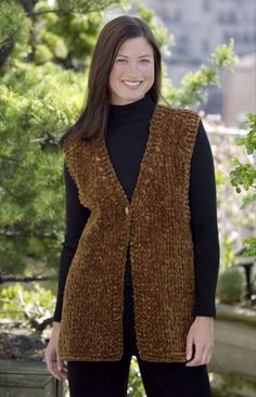 Knitting Patterns Vest Ravelry: Simple Luxury Vest (crochet) pattern by Lion Brand Yarn Crochet Vest Pattern, Cardigan Pattern, Crochet Shawl, Knitting Patterns Free, Knit Patterns, Knit Crochet, Crochet Lion, Crochet Vests, Free Crochet