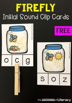 Practice initial sounds and letters with these free, low prep firefly clip cards! The firefly theme is the perfect activity for the warm summer months. Preschool Literacy, Teaching Phonics, Free Preschool, Phonics Activities, Kindergarten Activities, Teaching Reading, Kindergarten Freebies, Literacy Games, Autism Activities