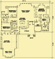 Architectural House Plans : Floor Plan Details : One Level With Three  Bedrooms