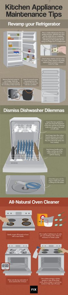 Follow our appliance repair tips and tricks to maintain your refrigerator, dishwasher, and stove! #Kitchens
