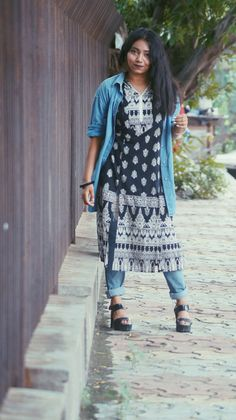 FBB Kurti with Distressed Jeans