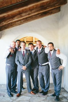 Groom and his groomsmen: http://www.stylemepretty.com/little-black-book-blog/2015/01/27/whimsical-vintage-rancho-buena-vista-adobe-wedding/ | Photography: Aga Jones - http://blog.agajonesphotography.com/