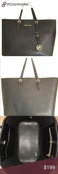 Michael Kors Black jet set Saffiano Leather Tote Only used it for a month. Slight signs of use. Michael Kors Bags Totes