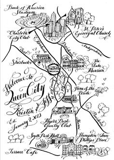 Calligraphy Wedding Maps for Weddings and special events Black and white design.   via Etsy.