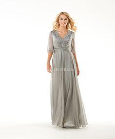 Buy Australia A-line Sexy V-neck Half Sleeves Chiffon Floor Length Modest Mothers Dresses by Bony at AU$190.75 - Dresses4Australia.com.au