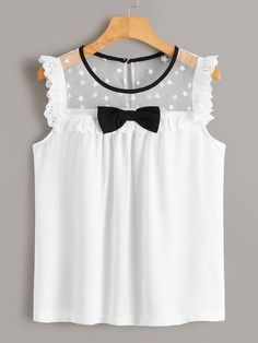 To find out about the Bow Front Contrast Eyelet Embroidery Yoke Blouse at SHEIN, part of our latest Blouses ready to shop online today! Mode Outfits, Girl Outfits, Casual Outfits, Cute Blouses, Blouses For Women, Baby Girl Dresses, Baby Dress, Cute Summer Outfits, Blouse Designs