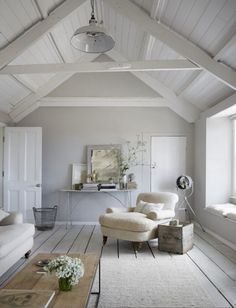 love this seaside coastal vintage loft living room with whitewashed floorbards, vaulted white ceiling and soft grey walls We love seaside interiors Source by. The post We love seaside interiors appeared first on Mack Makeovers. Coastal Bedrooms, Coastal Living Rooms, Living Room Decor, Living Area, Coastal Cottage, Small Living, Cosy Cottage Living Room, Attic Living Rooms, Modern Cottage Decor