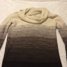 Ombré cowl neck sweater Nice thick sweater for winter in a pretty brown ombré. Cowl neck and long sleeves. Has been worn but there's really no visible signs of wear or a lot of pilling. St. John's Bay Sweaters Cowl & Turtlenecks