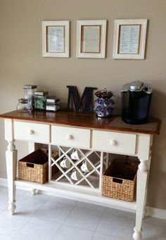 #Coffeebar We will do this soon. We both love it and have the perfect place for it. We just need to find the perfect piece of furniture. Even an old one, we can paint. This will free up some kitchen space too