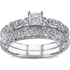 Miadora 10k White Gold 1/3ct TDW Diamond Bridal Ring Set ($589) ❤ liked on Polyvore featuring jewelry, rings, white, wide band rings, round diamond ring, white gold engagement rings, diamond wedding rings and white gold wedding rings