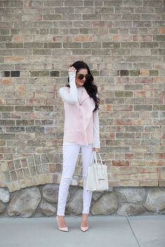 Sweater: Vince | Top: Vince | Pants: Citizens | Heels: Christian Louboutins | Bag: Celine (similar style here) | Sunglasses: Karen Walker …. I'm completely obsessed with this shade of pink right now!