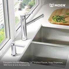 Moen Tilt one handle low arc pull-out kitchen faucet