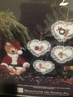 Christmas Tradition Holiday Cross Stitch Kit Bear On Heart Ornaments Sealed 1921 29064019216 | eBay