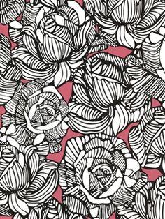 Zinc Wallpaper | Graphic Roses | AmericanBlinds.com