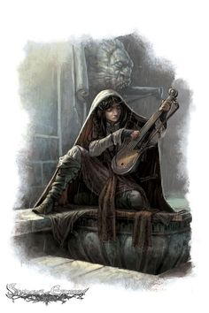 f Half Elf Bard lute Cape rain urban alley temple Shadows of Esteren