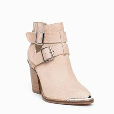 Nude buckled ankle boots