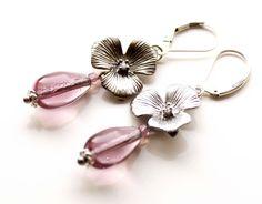 Sterling Silver Flower Earrings with Amethyst by EverywhereUR, $39.00