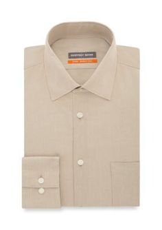 Geoffrey Beene Men's No-Iron Fitted Dress Shirt - New Tan - 16.5 34/35