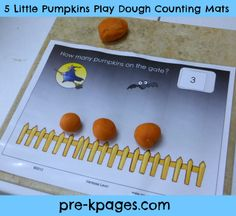 Free printable 5 little pumpkins play dough counting mats via www.pre-kpages.com. Can use for circle time also with pumpkin erasers. One mat per child.