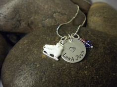 Custom Hand Stamped Ice Skate Charm Necklace for Ice by SWCtoo  Love it for my little ice skater!