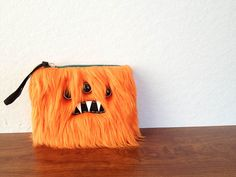 Small Orange Monster Pouch Three Silver Eyes by ShopGhoulieGirls, $20.00
