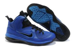 Ken Griffey Shoes Nike LeBron 9 Varsity Royal Black [Nike LeBron 9 - Using a predominately royal blue upper with black trim, this pair achieves a blue-like colorway that many sneakerheads have come to know and love. The innovation material for upper mo Best Sneakers, Air Max Sneakers, Sneakers Nike, Hot Shoes, Blue Shoes, Black Basketball Shoes, Nike Lebron, Nike Zoom, Lebron James