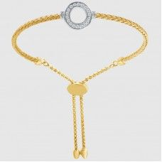 "Charles Garnier Sterling Silver With 18kt Yellow Gold Finish And CZ ""Elizabeth"" Bolo Cuff Bracelet"